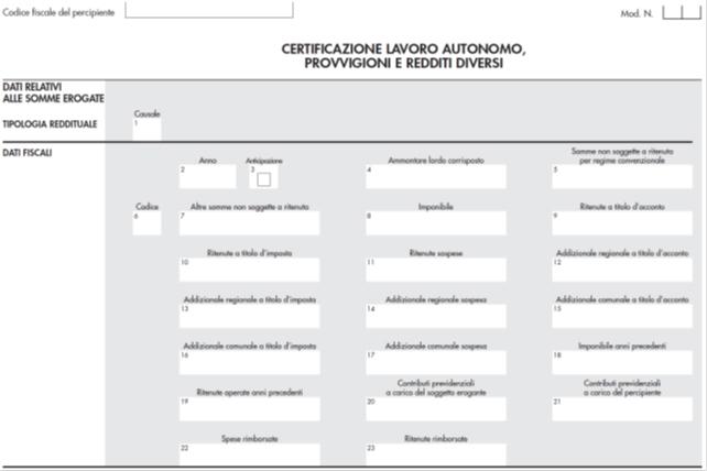 Modello cu tassa libri sociali certificazione degli utili principali scadenze studio - Certificazione lavoro autonomo provvigioni e redditi diversi causale a ...